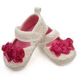 Baby schoenen beige met rode bloem