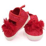 Baby schoenen rood met rode bloem