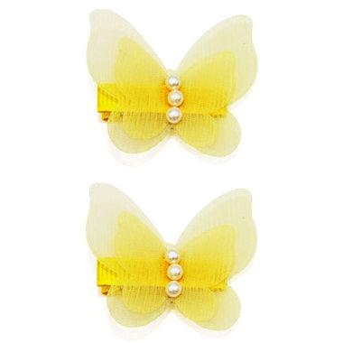 Haarspeldjes Met Gele Vlinders en Parels (2 stuks)