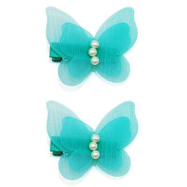 Haarspeldjes Met Aqua Vlinders en Parels (2 stuks)