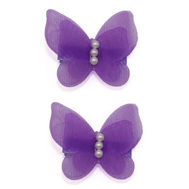 Haarspeldjes Met Paarse Vlinders en Parels (2 stuks)