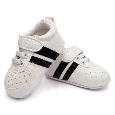 Baby Boy Sneakers Wit met Zwarte Strepen