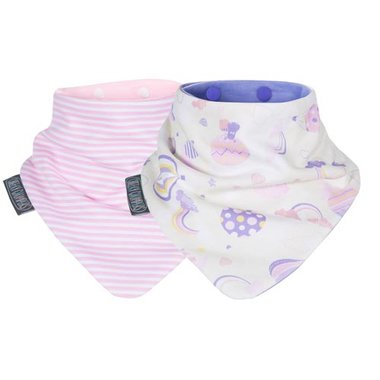 Cheeky Chompers Pink Rainbow & Stripes Neckerbibs - Set van 2