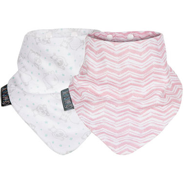 Cheeky Chompers Rosy Days & Hippo Muslin Neckerbibs - Set van 2