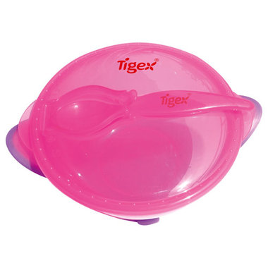 Tigex kom met zuignap en lepel - Roze