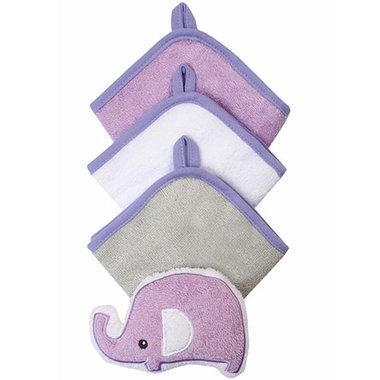 0520ee7c040 Babyono Lavender Terry Washcloths 3-Pack + Sponge