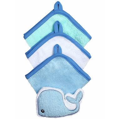 1e0a7515e74 Babyono Blue Terry Washcloths 3-Pack + Sponge