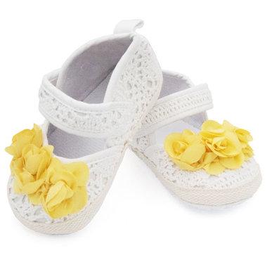Baby schoenen wit met gele bloem