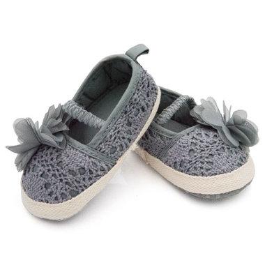 Baby ballerina's grijs met grijze bloem