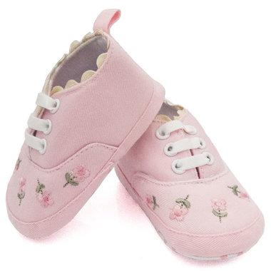 Baby gympen roze met bloemenprint