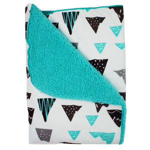 1665b3deab4 Soft Baby Blanket White and Aqua with Triangles 75 x 100 cm