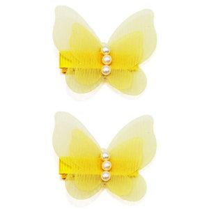 Haarspeldjes Met Gele Vlinders en Parels