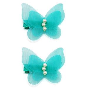 Haarspeldjes Met Aqua Vlinders en Parels