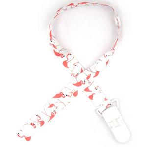 Speenkoord Wit met Roze Flamingo's