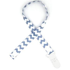Speenkoord Wit en Blauw Visgraat Patroon