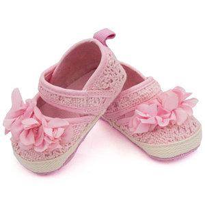 Baby schoenen roze met roze bloem