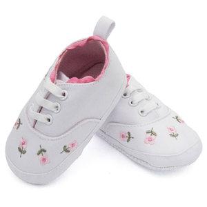 Baby schoenen wit met bloemenprint